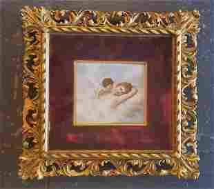 19thc French Porcelain Angel Plaque W/Ornate Gilt