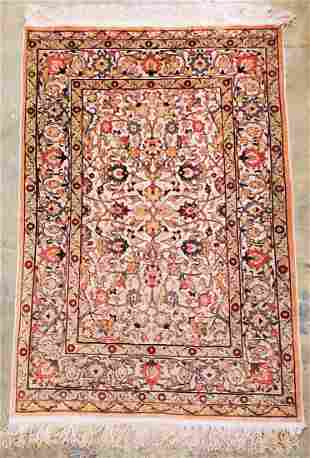 Silk rug Golden metal Thread Hand Made hereke