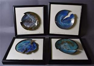 Set of Four Mid Century Framed Enameled Plaques