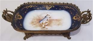 Gilt Bronze Ormolu Framed Hand Painted Porcelain Plate