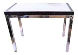 Contemporary Modern Zebra Wood and Chrome Sofa Console