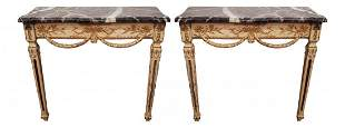 Pair Of Antique French Gilt Wood Marble Top Consoles
