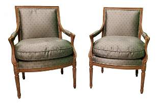 Pair of Vintage Arm Chairs W/Down Inserts 1940s