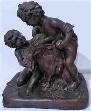 Antique French Bronze Sculpture 14 high
