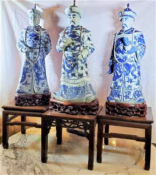 3 Antique 32h Sealed Chinese Statues Rose Wood Stands