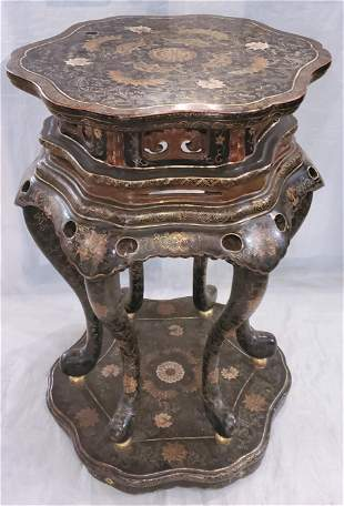 Chinese Laquered Hand Carved Overlay Side/Center Table