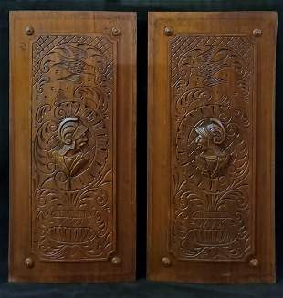 Pair of Spanish Hand Carved Wooden Plaques