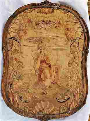 Early 19thc French Tapestry With Wooden Custom Frame