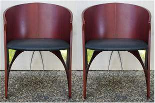 Italian Pair of Black Leather Seat Arm Chairs with