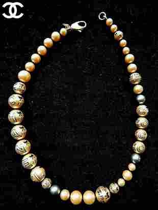Auth Vintage COCO Chanel Pearl Necklace