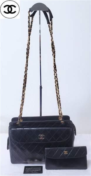 Chanel CC Lamb Skin Camera Bag W/Wallet