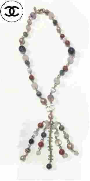CHANEL Necklace AUTH Coco Logo chain Vintage Rare Color