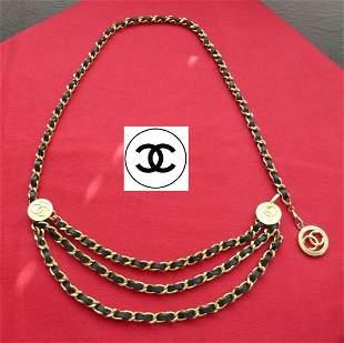 Vintage Chanel Black Leather Bracelet/Necklace W/ Charm