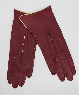 French Antiqiue Leather hand Made French Gloves