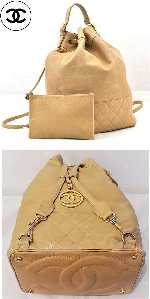Authentic Chanel Camel Caviar Skin Backpack Gold