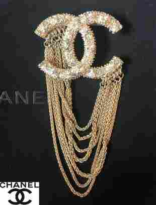 Chanel CC Gold Pearl and Crystal Brooch Authentic