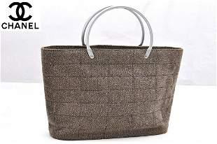 Authentic Canvas And Metal handle Chanel Handbag