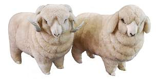 50s Pair of Lamb Sculptures Lambs Fur
