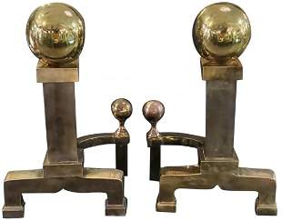 1970s massive Cannonball Fireplace Andirons - a Pair