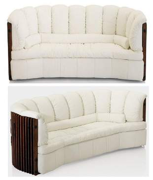 Pacific Green Rare DPalm Large White Leather Sofa