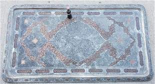 Late 19thc Monumental Persian Silvered & Copper Tray