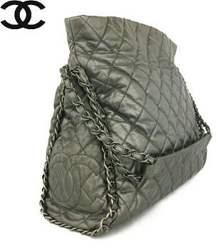 Auth Rare Chanel Leather Chain Shoulder Bag