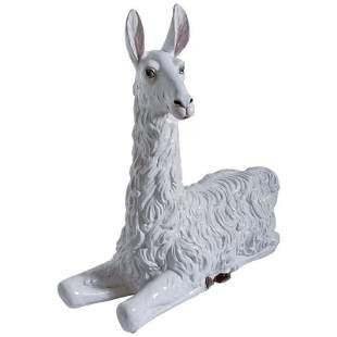 Large 70s Italian Painted Terrcotta Llama