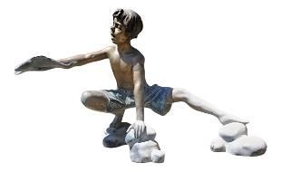 Bronze Water Fountain Statue of Palyful Child Holding