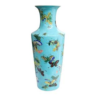 Vintage Chinese Blue Butterflies Chinese Rose Vase