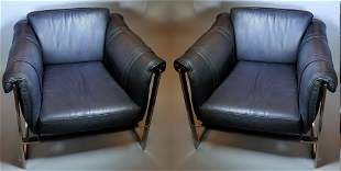 Italian 80s Leather and Chrome Chairs