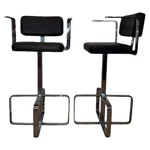 Pair of 80s Italian Chrome & Leather Stools
