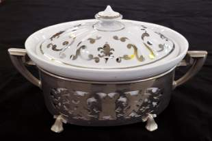 Mid Century Porcelain and Silvered Metal Serving Dish