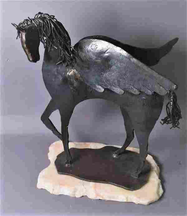 Contemporary Modern Bronze Pegasus Sculpture