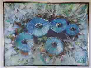 Mid Century Signed Oil Painting By Adams