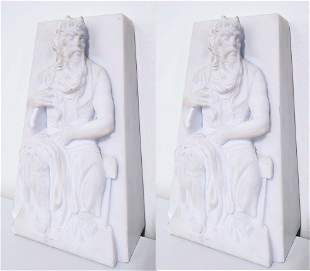 Mid Century Marble Book Ends