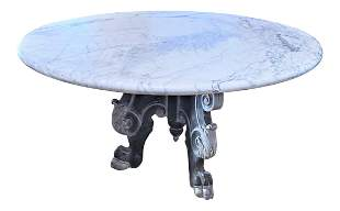 Italian Mid Centruy Hand Carved Marble Top Table
