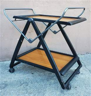 Modern Italian Two Tier Wooden Fold up Trolley