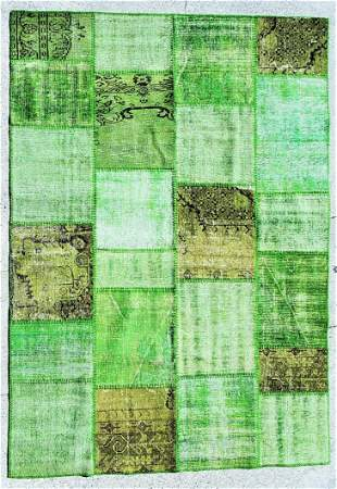 Hand Made Shaved and Wool Rug - Green