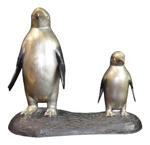 24 inch L Contemporary Bronze Mother and baby Penguin