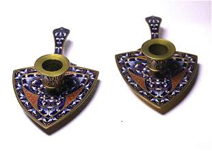 Pair of antique French Bronze and Champleve Enamel