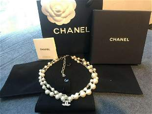 Vintage Chanel Pearl and Crystal Necklace
