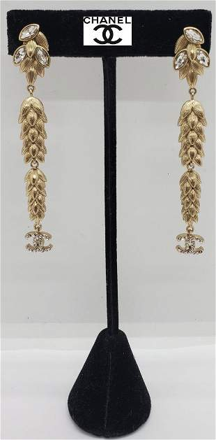 Chanel Pair of Crystal Gold Dangle Earrings