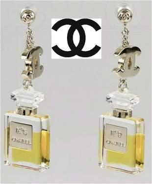 Auth Chanel Perfume Drop Down Earrings
