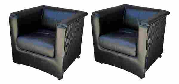 Pair of Poltrona Frau Pleaded Back Leather Club Chairs