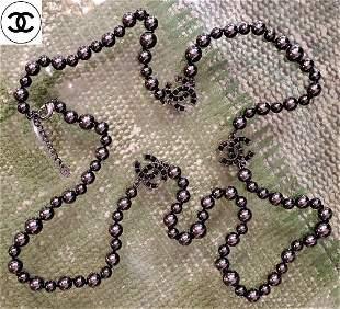 Rare Vintage Chanel Black Pearl Necklace