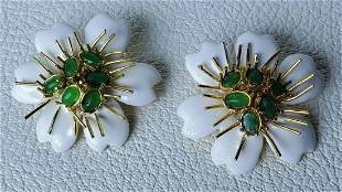 Italian Floral hand made Enamel Sterling Silver Ear