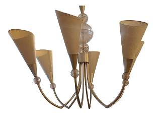 80s French Lucite Six Arm Chandelier