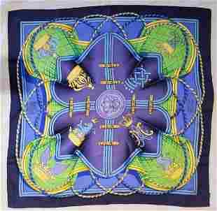 Auth Hermes Large Silk Scarf