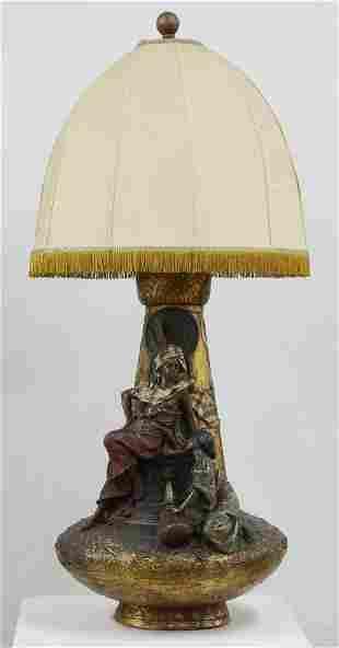 Monumental Franz Bergman Austrian Mannered Lamp