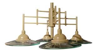 Contemporary modern Khaki metal four light chandelier